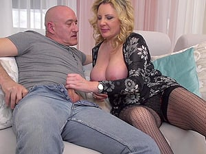Mature amateur blonde MILF Valentina takes cum down her throat
