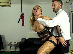 Plastic blonde MILF bimbo Joanna Bujoli choked with a big fat cock