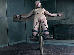 Blonde tall slut Sailor Luna has her mouth and pussy abused in torture