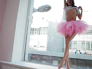 Beautiful Sveta dancing wearing a pink ballerina tutu dress