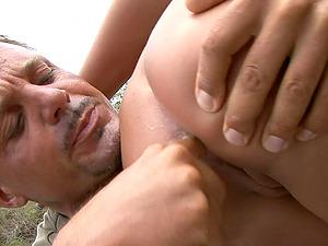 Slutty MILF Angelika Black swallows juicy cum outdoors