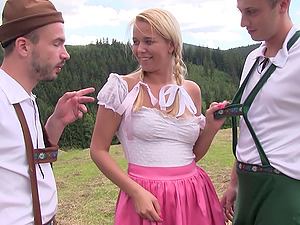 Outdoor MMF threesome with blonde country girl Nikky Dream