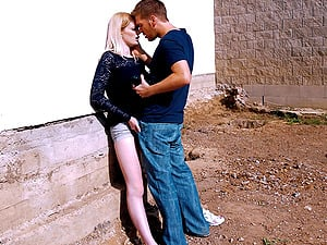 Slutty blonde tattooed babe Carly Rae swallows cum outdoors