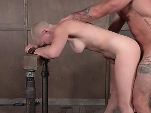 Hardcore messy and sloppy abuse session for tied up Riley Nixon