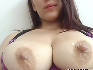 Teen Latina smoking and lactating on cam while being live