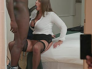 Naughty secretary with glasses Sexy Suzy blows cock and gets assfucked