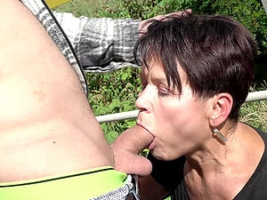 Granny loves cock outdoors