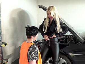 Blonde MILF blows and fucks her car repair man to repay him