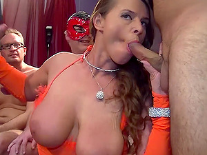 MNature brunette gets her pussy pounded hard in a gangbang