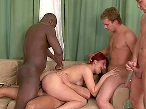 Hardcore interracial gangbang with redhead slut Lucy Bell