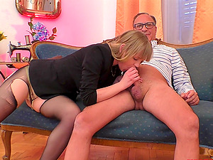 Blonde in high heels Lucette Nice rides cock and gets fucked doggy