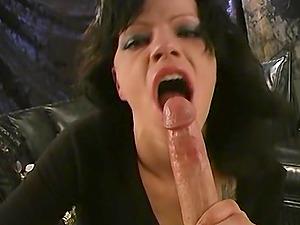 Raunchy mature brunette slut Sadie Holmes devours a cock balls deep