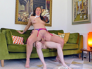 Hungry mature babe Lara rides a younger guy's hard dick