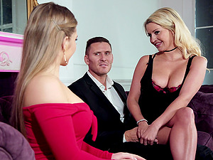 Blonde bombshell babes Sienna Day and Sienna Day take turns on a cock