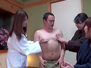 Three Japanese horny babes atack one guy's dick hardcore