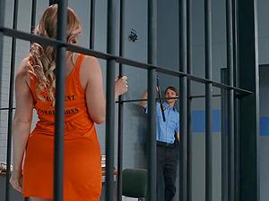 Horny inmate AJ Applegate fucks a prison guard in a cell