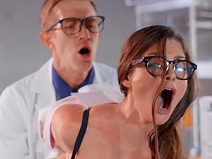 Nerdy scientist babe Cathy Heaven takes cum in mouth at the laboratory
