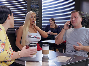 Bombshell babes Angela White and Nicolette Shea take turns riding cock