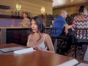 Lela Star seduces a waiter and fucks him in a public restaurant