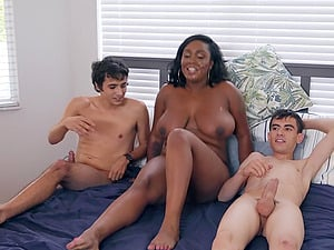 Chubby ebony MILF Layton Benton takes two big white dicks