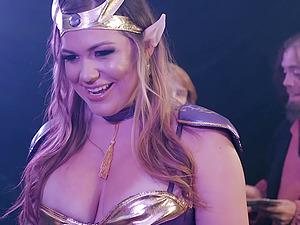 Fantasy role play fuck with curvy Karmen Karma getting cum on tits