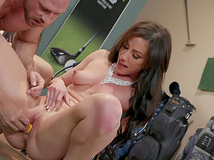 Indoor golf game turns into a hard fuck with facial for Jennifer White