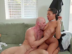 Teen ebony slut Anya Ivy rides a cop to get out of jail