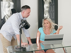 Blonde beauty Athena Palomino gets her pretty face cum covered