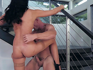 Gorgeous brunette Ariana Marie swallows a huge load at a job interview