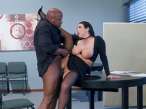 Busty brunette whore Angela White wants cum on her huge natural tits