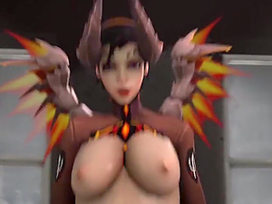 Widowmaker and Mercy get pussy fucked after they give blowjob session