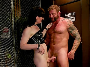 Tall pale shemale Natalie Mars ties up and fucks a dude