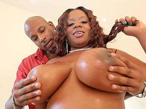 Buxom BBW ebony Velvet Rose filled with a huge black cock