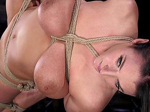Busty buxom babe Angela White tied up and abused hardcore