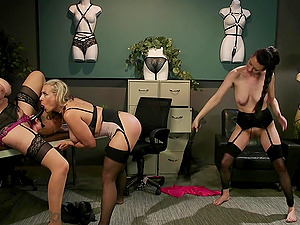 Hardcore lesbian strap on threesome with Julia Ann and her sluts