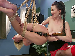 Lesbian slave fetish scene with babes Eliza Jane and Cherry Torn