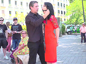 Dark haired cutie Lilyan Red tied up and humiliated in public
