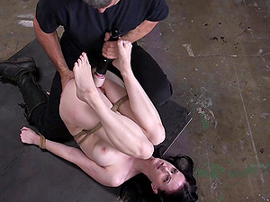 Pale vixen Alex Harper tied up and pounded in the dungeon