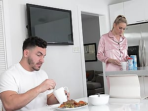Blonde housewife Addie Andrews takes cum in mouth in the kitchen
