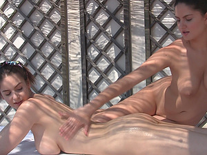 Lesbian massage and fisting session with Francesca and Stella