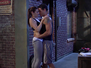 Fit babe in tights Samantha Ryan rides cock in a back alley