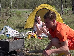 Outdoor fuck in a tent with teen brunette Alex Diaz