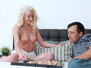 Busty blue eyed blonde whore Anjela Vital pounded from behind hard