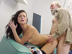 Amateur long haired brunette Katy Rose pounded hard by an older guy