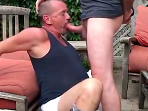 Horny masculine daddy worships and sucks his partner's thick dick with passion
