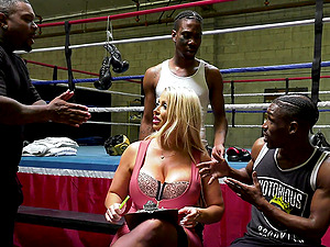Stunning blonde Alura Jenson enjoys interacial group sex with black gyus
