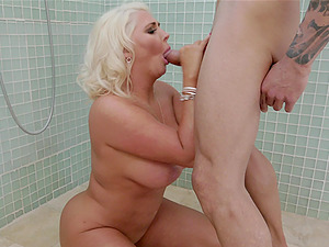 Busty blondes Kristina Shannon and Karissa Shannon take turns on cock