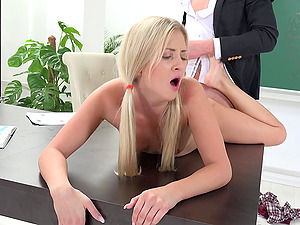 Naughty schoolgirl Karolina gets punished by her teacher
