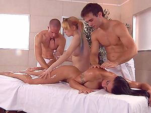 Oiled and sensitive Caprice Black has a happy ending massage and group sex
