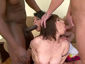 Experienced lady Nicol and her friends enjoy group interracial sex